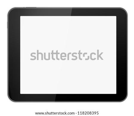 Black tablet  - like on white background - stock photo