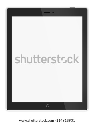 Black tablet on white background - stock photo