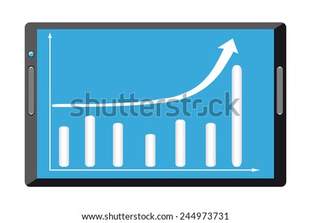 Black tablet pc computer with growth diagram on display - stock photo