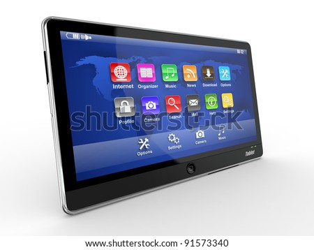 Black tablet pc on white background. 3d - stock photo