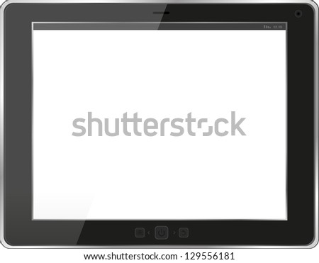 Black tablet pc on white background, raster