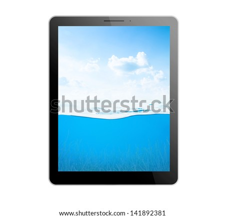 Black tablet pc on white background with water inside - stock photo