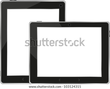 Black tablet pc set on white background - raster