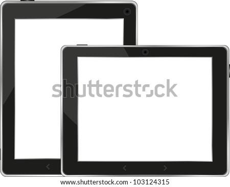 Black tablet pc set on white background - raster - stock photo