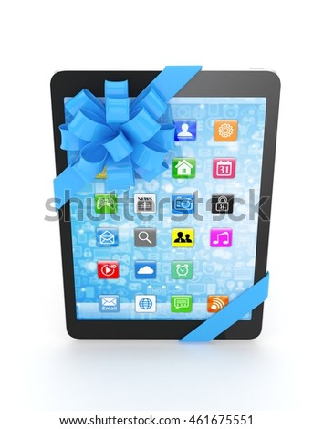 Black tablet with blue bow and icons. 3D rendering.