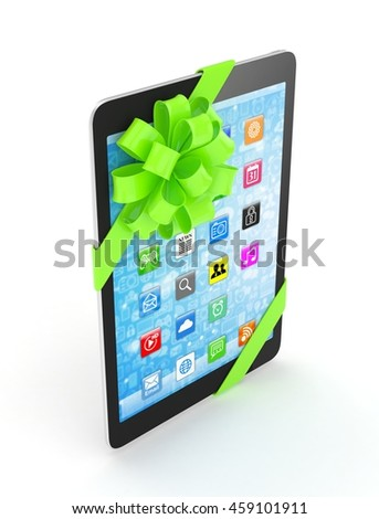Black tablet with green bow and icons. 3D rendering.