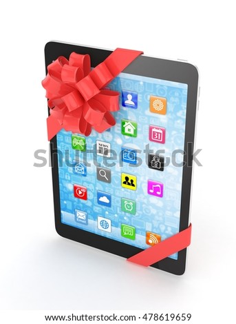 Black tablet with red bow and icons. 3D rendering.