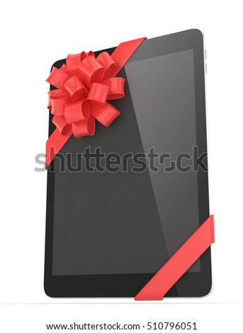 Black tablet with red bow. 3D rendering.
