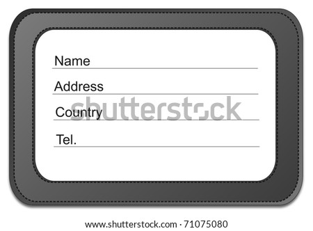 Black tag isolated on white background