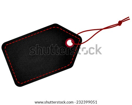Black tag label with red string and stitches - stock photo