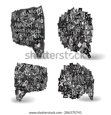 Black talking bubbles of letters from newspaper and magazines in perspective. Raster version - stock photo