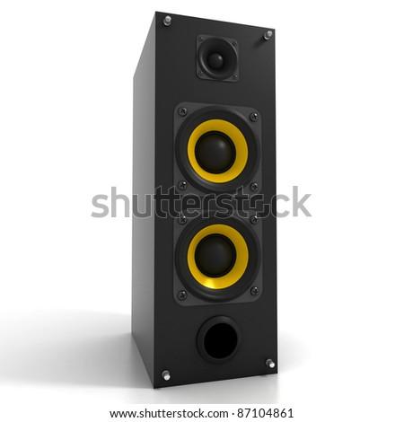 Black Tall Loud Speaker Isolated on White - stock photo