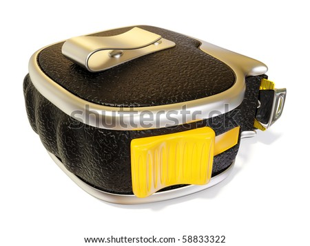 black  tape measure on white background isolated