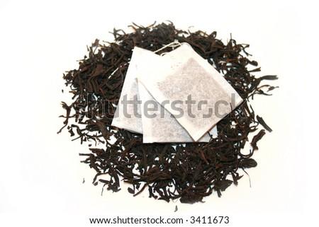 Black Tea and Teabag - stock photo
