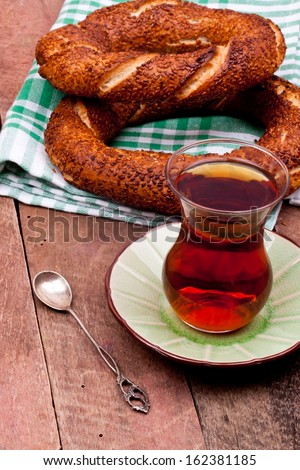 black tea and turkish bagel - stock photo