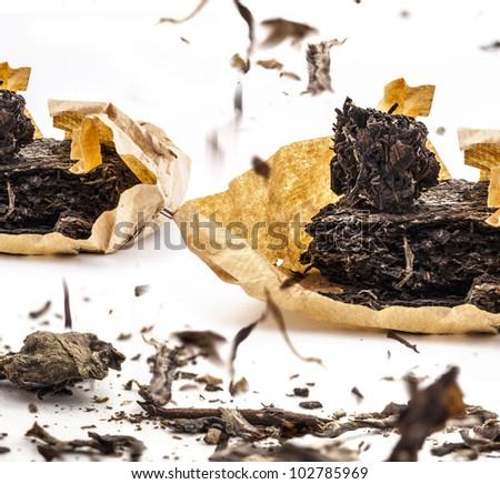 Black tea dried tea leaves, closeup - stock photo