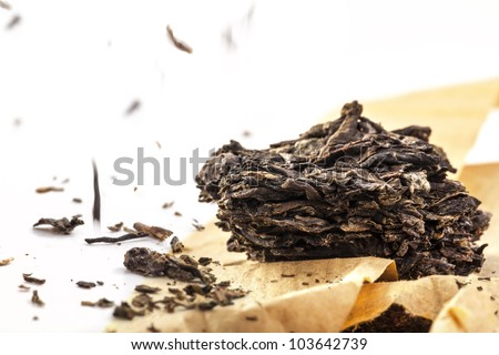 Black tea dried tea leaves, closeup, - stock photo