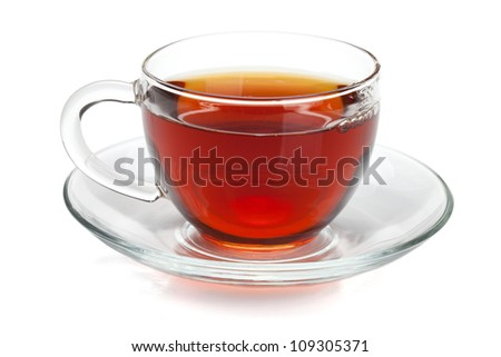Black tea in glass cup. Isolated on white background - stock photo