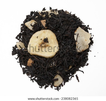 Black tea.Ingredients: black tea, coconut, banana, candy pieces, natural aroma.  - stock photo
