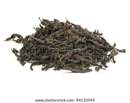 black tea leaves on a white background