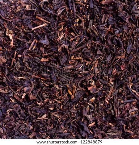 black tea loose dried tea leaves, marco - stock photo
