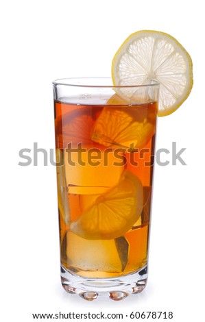 Black tea with ice and lemon