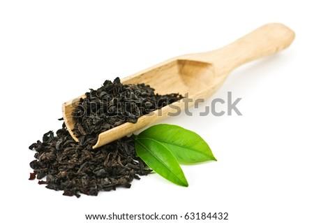 black tea with leaf isolated on white background - stock photo