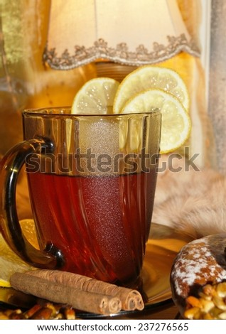 Black tea with lemon and spices - Warming tea for colds