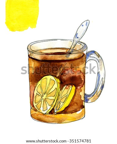 Black tea with lemons in a glass mug. Illustration for cooking site, menus and food designs. Watercolour isolated on white background. - stock photo