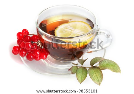 Black tea  with red viburnum and lemon in glass cup isolated on white