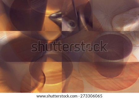 Black teapot and two teacups with tea on bamboo plates in sepia. Shallow DOF, Collage, Double Exposure effect - stock photo