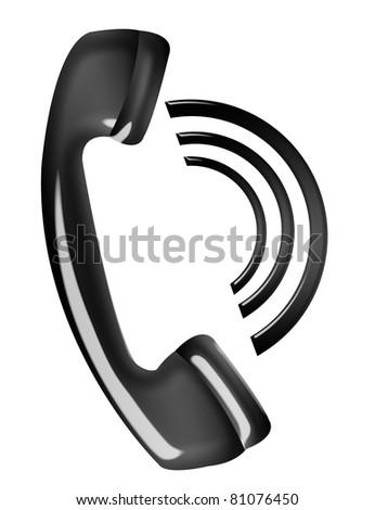 black telephone calling isolated over white background - stock photo