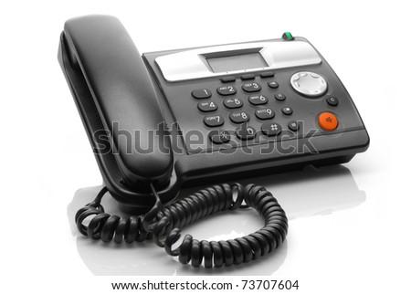 black telephone isolated on white background - stock photo