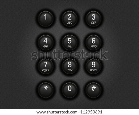 Black telephone keypad illustration - stock photo