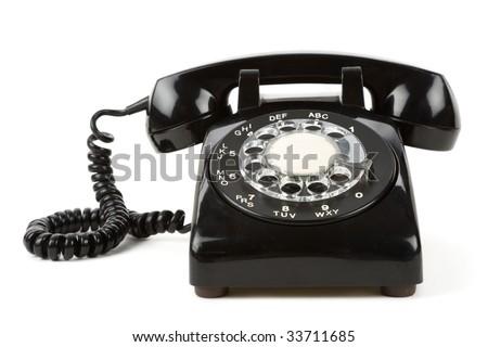 Black telephone with white background - stock photo
