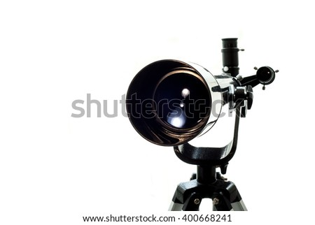Black Telescope on a white background. Watching the stars.