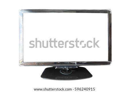 black television isolated on white background