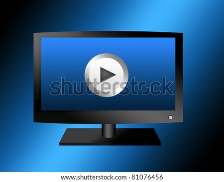 black television with play sign over blue background. illustration