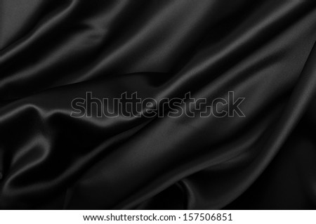 Black Texture - Dark Wavy Glossy Silk Drapery  - stock photo