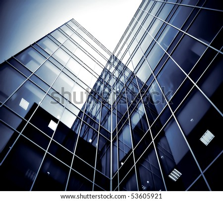 black texture of glass tower at night - stock photo