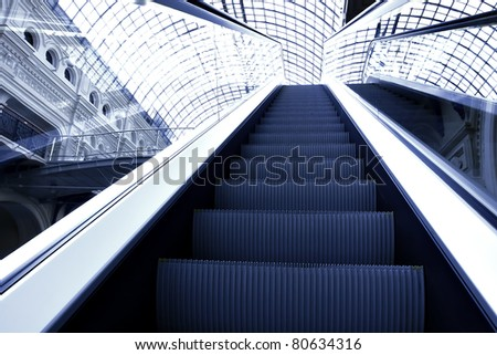 black texture of modern escalator, metro station - stock photo