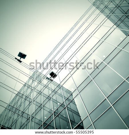 black texture of modern new skyscraper business center - stock photo