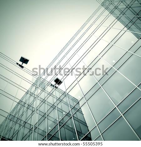 black texture of modern new skyscraper business center - stock photo