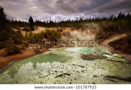 Black Thermal Basin in Yellowstone National Park,USA - stock photo