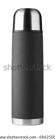 Black thermos isolated on white background - stock photo