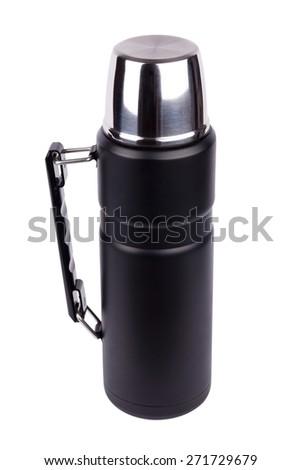Black Thermos on white background - stock photo