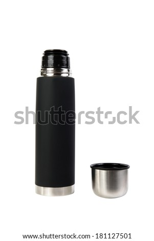 Black thermos with open lid isolated on white background - stock photo