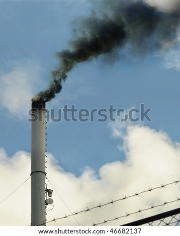 Black thick industrial smoke. Pollution concept. - stock photo