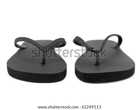 Black thongs isolated against a white background - stock photo