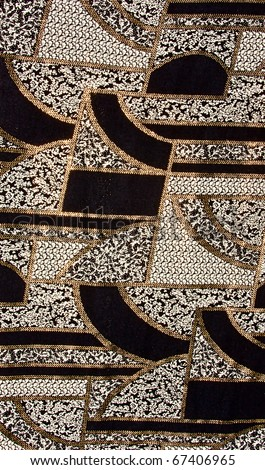 Black tissue pattern with gold. Black fabric pattern with gold - stock photo